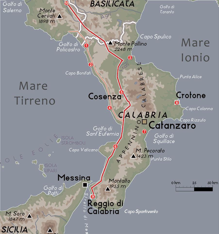 Il Bruzio  in epoca romana con la Via Popillia-Annia, la via costiera e i centri maggiori:  1 - Blanda Julia (Tortora) 2 - Cerillae (Cirella) 3 - Copia (già Sybaris e Thurii) 4 - Tempsa (già Tèmesa) 5 - Consentia (Cosenza) 6 - Vibo Valentia (già Hippònion) 7 - Scolacium 8 - Croton (Crotone) 9 - Regium (Reggio Calabria) 10 - Polla