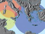 Sovrapposizione delle sfere di influenza etrusca (rosso), fenicia (giallo) e greca (blu), fine VIII sec. a.C.: l'Italia meridionale è una zona di contatto