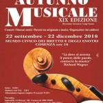 Musica colta al Museo dei Brettii e degli Enotri.Diciannove gli appuntamenti della stagione concertistica internazionale 'Autunno Musicale', a cominciare dal 22 settembre